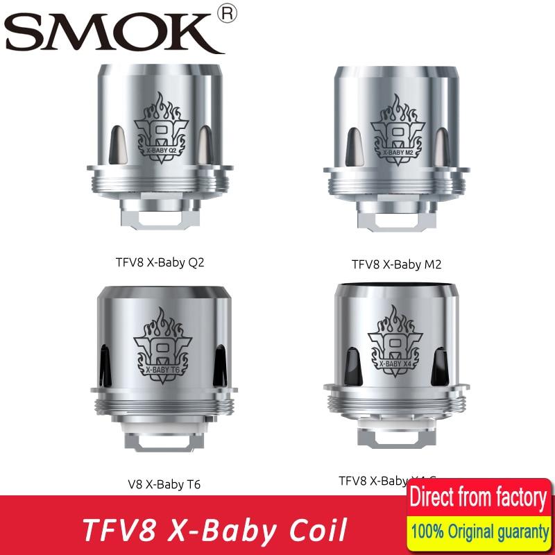 D'origine 3 pcs SMOK TFV8 X-Bébé Bobine 0.4ohm Q2 Double Bobine/0.25ohm M2/0.13ohm X4/0.2ohm T6 Tête pour SMOK TFV8 X Bébé Bobine Atomiseur