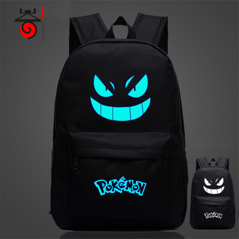 Senkey style Pokemon Gengar fashion casual Men's Backpack backpack Anime Luminous teenagers Men women Student Cartoon School Bag new fashion game pokemon backpack anime pocket monster school bags for teenagers gengar bag pu leather backpacks rugzak