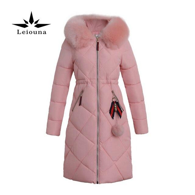 Leiouna Lourd Coton De Mode Veste Grande Taille Overknee À Capuche Fourrure Parka  Femme Hiver Longue a22d90ed71cc