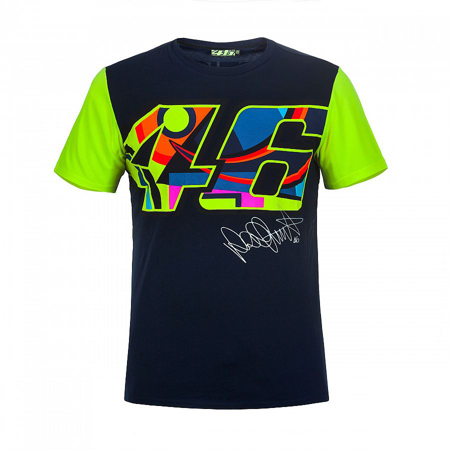 2017 Valentino Rossi VR46 Moto GP Large 46 Signature Blue T-shirt Sports Motorcycle Racing Tee