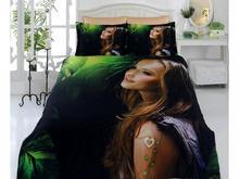 Комплект постельного белья двуспальный-евро VIRGINIA SECRET, Bamboo, девушка, черный, 3D