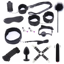 Porno Sex Handcuffs Toys for Adults Bdsm Bondage Women Nipple Clamps Whip Mouth Gag Mask Anal Plug Products