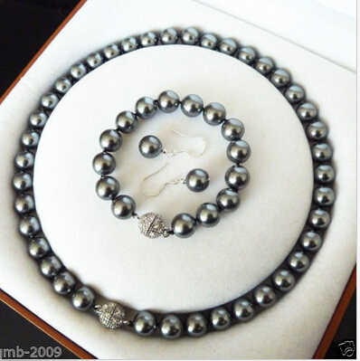 Perhiasan AAA + MODE 10 MM HITAM SOUTH SEA SHELL PEARL KALUNG GELANG ANTING