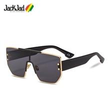 JackJad 2019 moda moderna genial Plaza escudo gafas De Sol De estilo  remaches dos puntos Popular c3db46601647