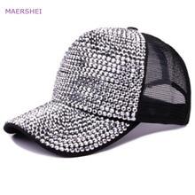 MAERSHEI Hat Female Summer Shiny Rhinestone Baseball Cap Studded Drilled Breathable Mesh Cap fortnite