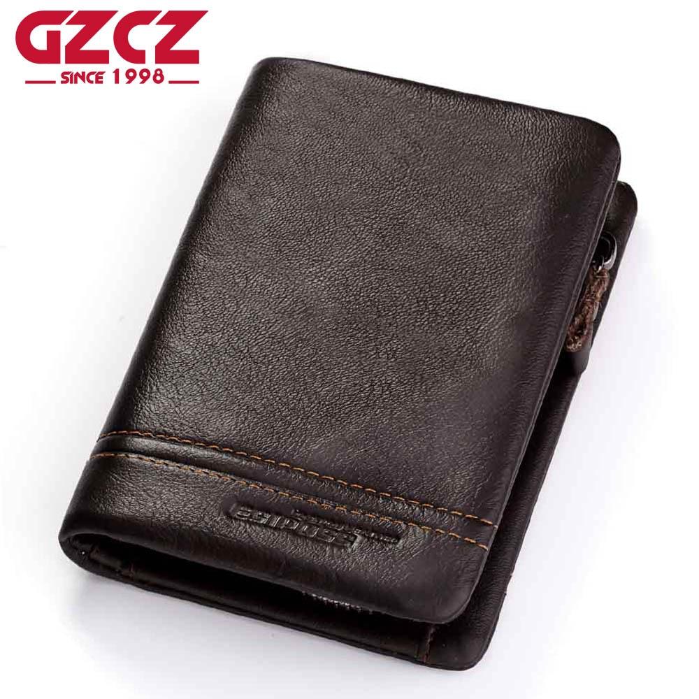 GZCZ Genuine Leather Men Wallets Purse Money Bag Fashion Male Wallet Photo Card Holder Coin Purse Wallet Men Zipper Poucht