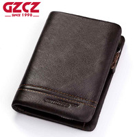 ESIPOSS Genuine Leather Men Wallets Purse Money Bag Fashion Male Wallet Photo Card Holder Coin Purse