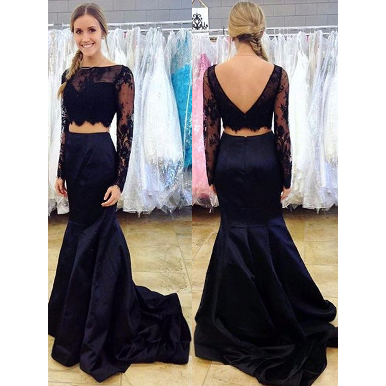 Long Sleeves Lace Mermaid Long Two Pieces Prom Dresses Boat Neck