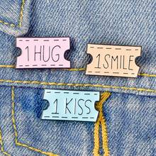 Cute Cartoon animal enamel pin Cat movie ticket Heart badge brooch Lapel for Denim Jean shirt bag Jewelry women kids