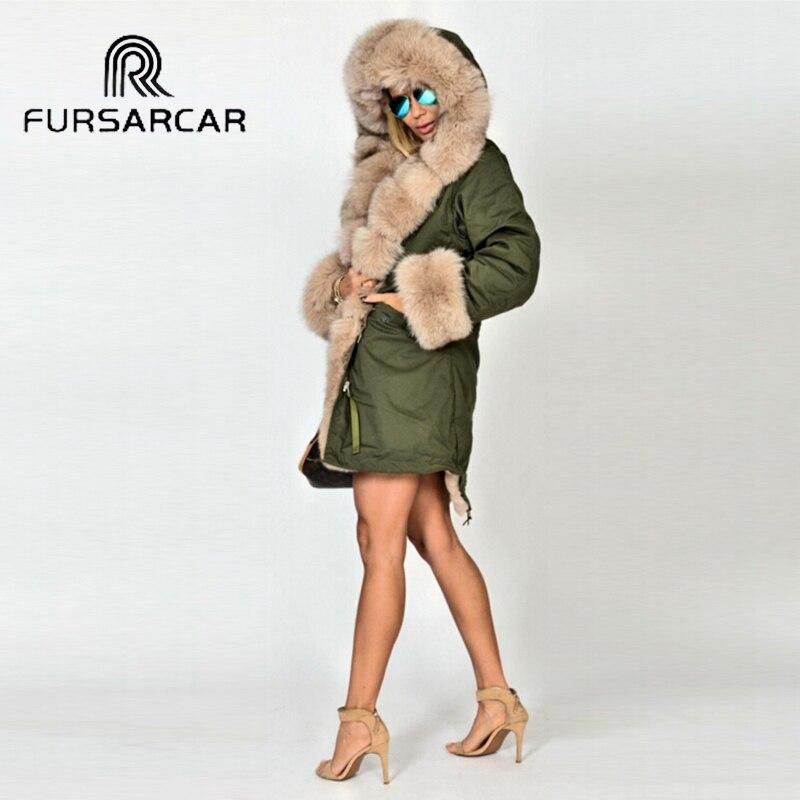 De Luxe Milieu Épais long Réel Avec D'hiver Fourrure Col Manchette Mode Et Renard Style Chaud Parka Manteau Femmes Fursarcar wvxRTz