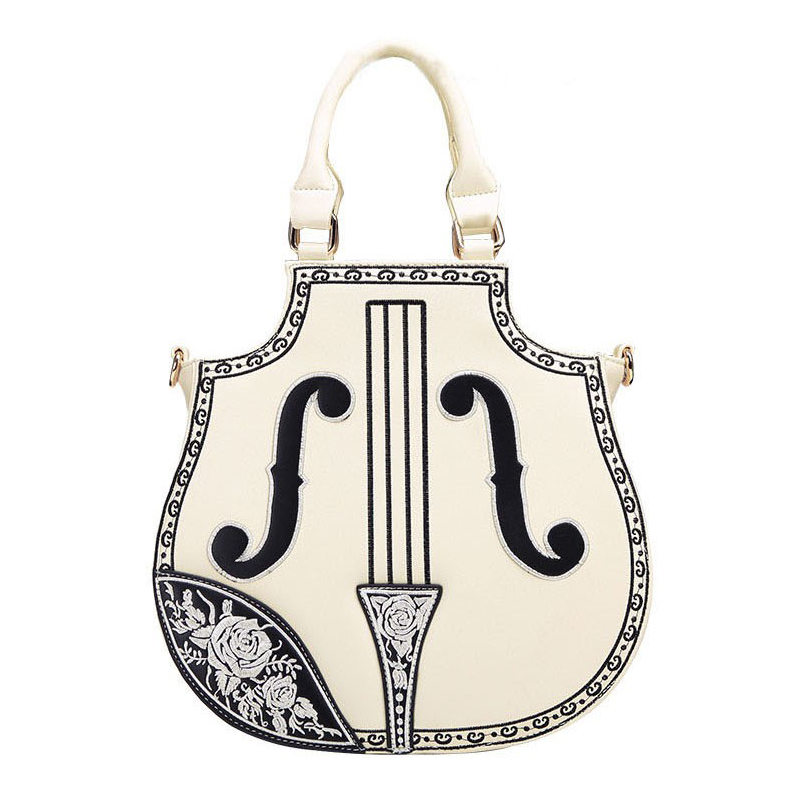 New 2017 Fashion Violin Women Leather Handbags Vintage Lolita Gothic Palace Embr