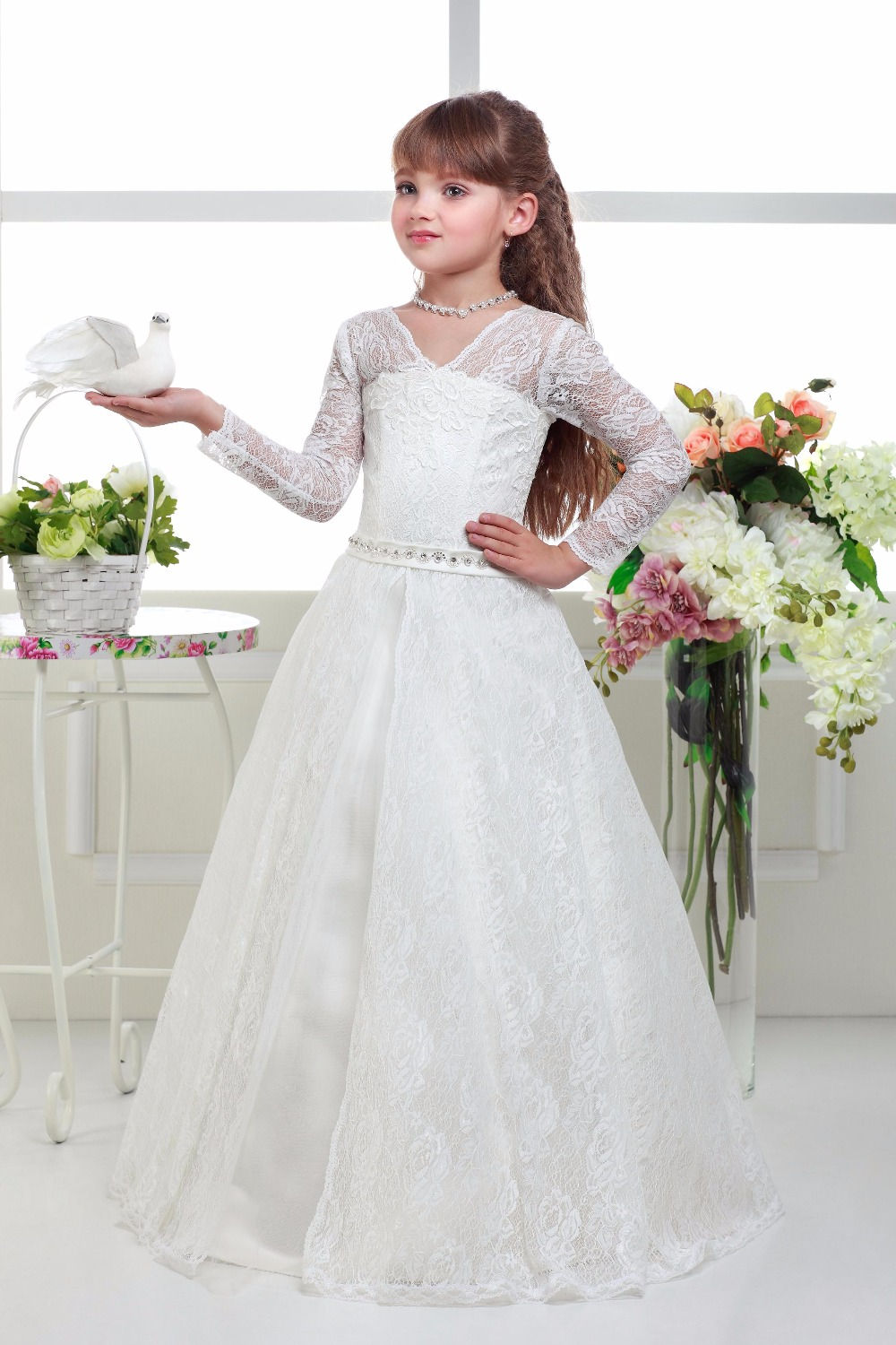 First Communion Dresses Infant Appliques Long Sleeves Crystal Lace Up Tiered Pageant Little PrincessTulle Ball Gowns 0-12 Year blue pageant dresses for little girls a line spaghetti straps solid appliques crystal lace up flower girl first communion gowns