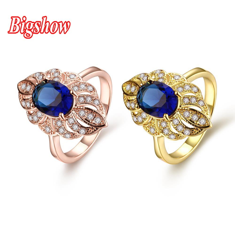24k real yellow gold rose gold plated jewelry sapphire zircon stone crystals R092-A-8