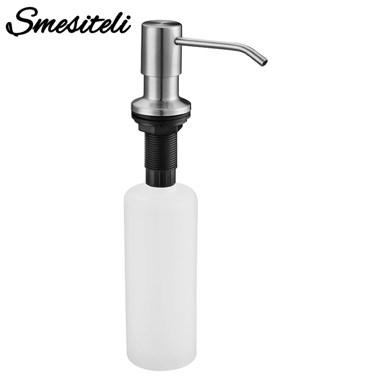 Free Shipping Stainless Steel Kitchen Sink Countertop Soap Dispenser Built In Hand Soap Dispenser Pump, Large Capacity 13 OZ Bot