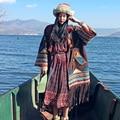 MX111 Nuevo Otoño 2016 estilo hippie de la vendimia de gran tamaño floja X seude Largo étnico bordado borla patchwork trench coat mujeres