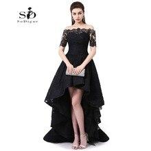 Fora Do Ombro Vestido de Noite Oi Baixo Vestido de Festa de Manga Curta Black Lace Prom Vestidos de Festa Vestido de Alta Qualidade Robe De Soiree(China (Mainland))