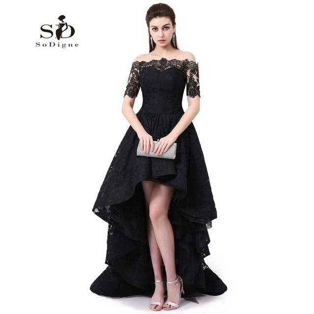 Off The Shoulder Evening Dress Short Sleeve Hi Low Party Dress Black Lace Prom Dresses Party Gown High Quality Robe De Soiree