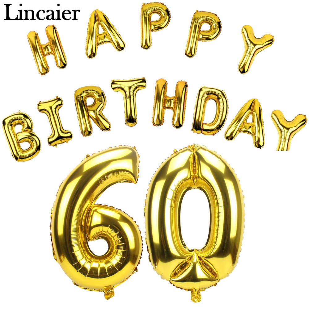 Lincaier 32 Inch 62 Cm 60th Birthday Gold Balloons Happy