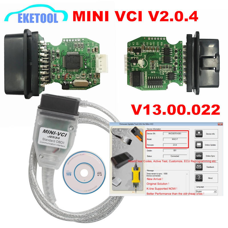 Newest MINI VCI V2.0.4 Real Firmware Upgraded SW V13.00.022 For Toyota TIS Techstream j2534 K-Line CAN-BUS FT232RLNewest MINI VCI V2.0.4 Real Firmware Upgraded SW V13.00.022 For Toyota TIS Techstream j2534 K-Line CAN-BUS FT232RL