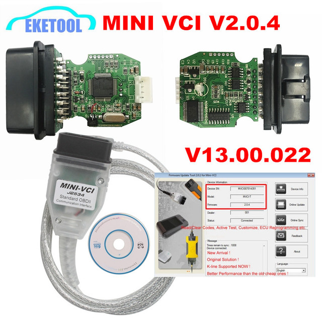 US $44 18 5% OFF Newest MINI VCI V2 0 4 Real Firmware Upgraded SW  V13 00 022 For Toyota TIS Techstream j2534 K Line CAN BUS FT232RL-in Car  Diagnostic