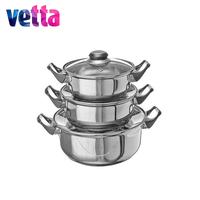 VETTA 3pcs cooker pot nonstick steamer cookware set for Kitchen frying tableware with cover casserole lids pan 822 010