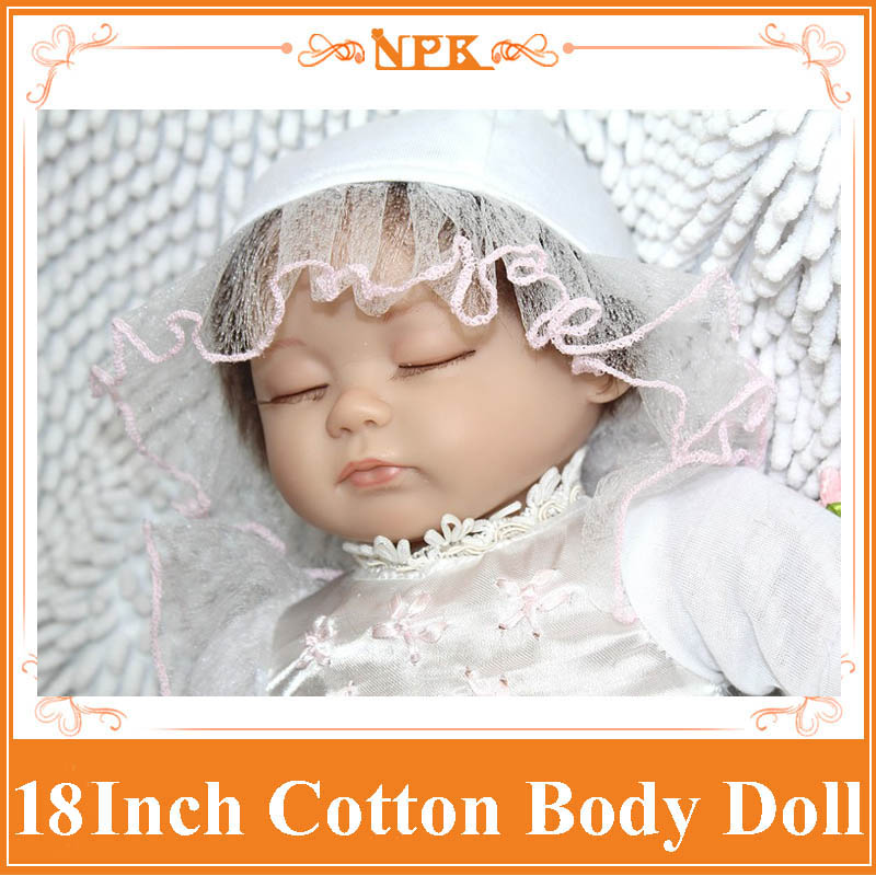 Sweet Sleeping 18Inch Dolls NPK Silicone Reborn Baby Dolls In  White Dress Handmade Real Touch Vinyl Mini Reborn Dolls Girl Gift new arrived 55 60cm silicone reborn baby dolls fridolin sweet girl real gentle touch rooted human hair with pink dress newyear