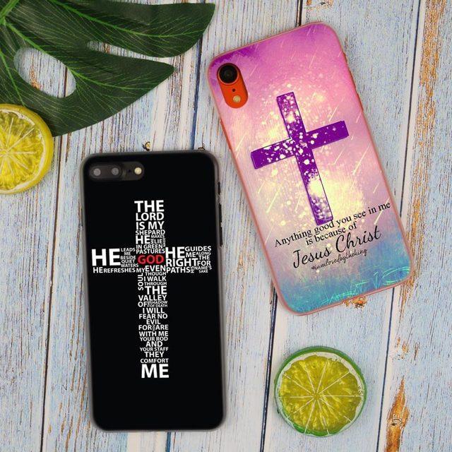 Bible jésus Christ croix chrétienne mode chaude Transparent couverture de téléphone dur étui pour iphone X XS Max XR 8 7 6 6s Plus 5 SE 5C 4