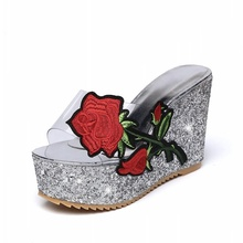 Women Slippers Sandals 2019 Summer New Embroidered Rose Transparent High Heels Shoes Wedges Beach