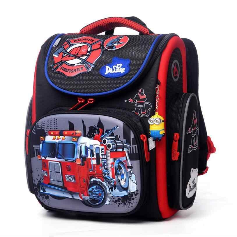 515a97dde5cc Delune бренд 1-3 класс ортопедические школьные сумки узор для мальчиков  Автомобили EVA сложенный детский