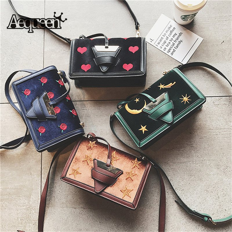 AEQUEEN Fashion Embroidery Flower Shoulder Bag Cute Heart Bags Women Velvet Leather  Crossbody Bag Triangle Hasp 7d3305de4eb47
