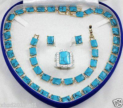 LIVRAISON GRATUITE Belle 18 k GP Turquoise collier bracelet Ensembles anneau de boucle d'oreille