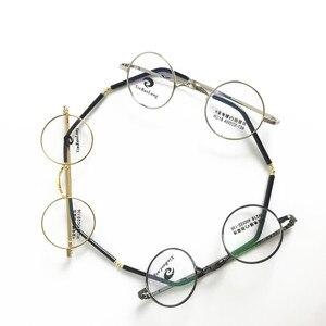Image 2 - בציר קטן 40mm עגול משקפיים מסגרות מתכת שפה מלאה אופטי יוניסקס משקפיים