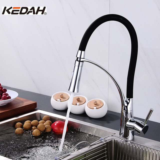 Captivating KEDAH Kitchen Pull Down Black Tube Body Faucets Cold And Hot Water Control  Chrome Plated Robinet
