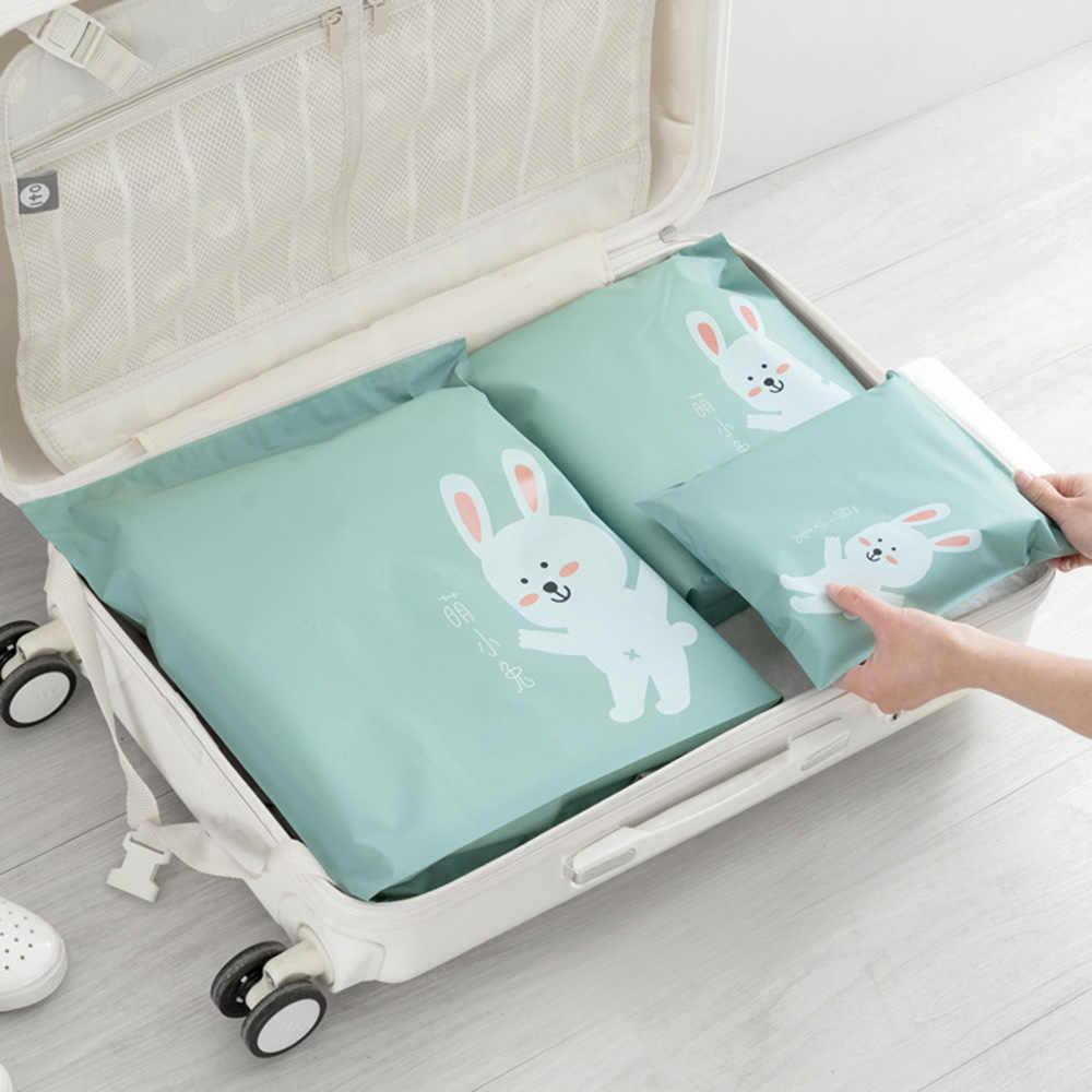Sqinans Cute Korean Waterproof Travel Storage Bag Zip Lock Plastic Bags Cartoon Travel Shoe Bags Storage Clothes Organizer