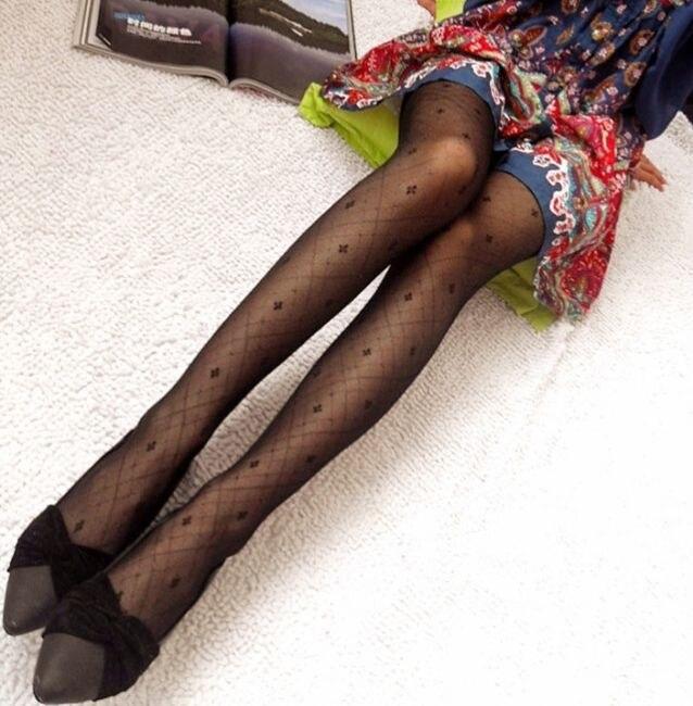 Jeseca зима осень женские сексуальные колготки сердце леопардовые точки кружевные ажурные колготки женские Чулочные изделия высокие шелковые чулки - Цвет: Flower