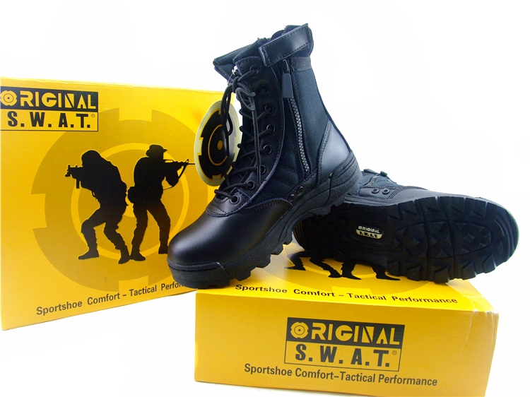 Black SWAT Men Boots Special Tactical Desert Boots...