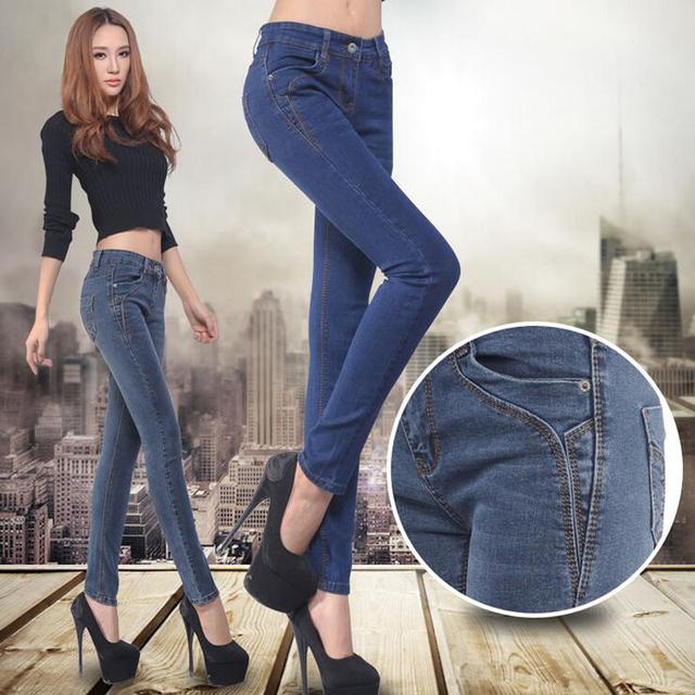 2017 Pantalones Vaqueros de Las Mujeres Muestran Delgado Arriba Elástico Flaco Denim Lápiz Pantalones Largos Cómodos Jeans Feminina camisa de Color Azul Gris
