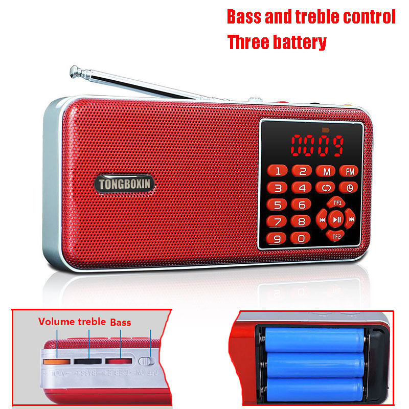 C-862 Independent Bass And Treble Adjust Stereo Rock Sound Mini FM Radio Speaker USB TF MP3 Player Time Clock Function