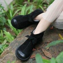 Genuine Leather Women Ankle Boots Winter 2018 Low Heels Lazy Shoe For Women Handmade Leather Martin Boots Black Winter Warm Shoe