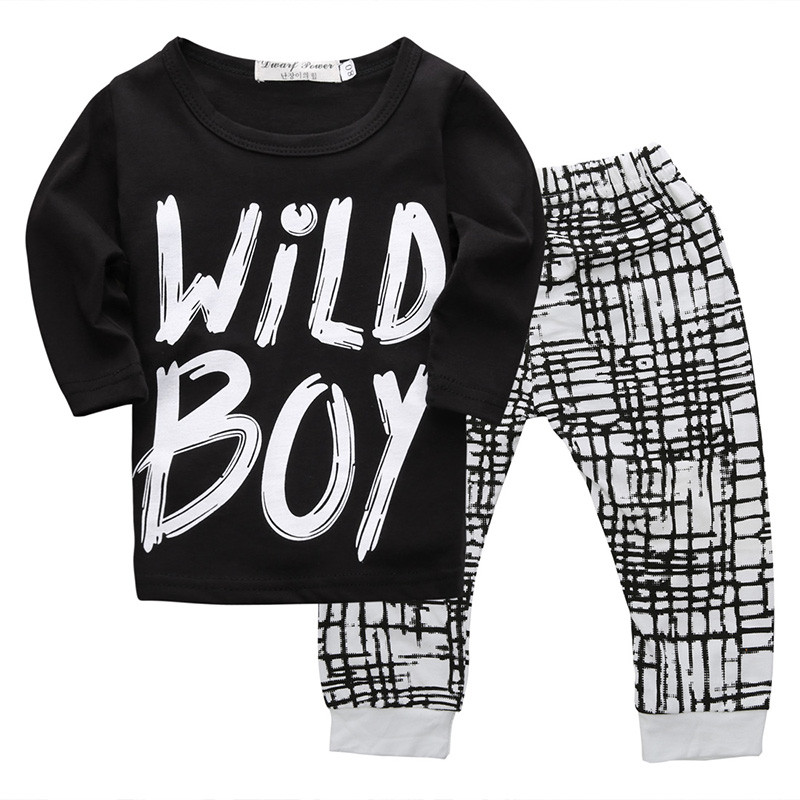 New Toddler Newborn Baby Boys Warm Long Sleeve Wild Boy T-shirt Tops+Plaids Pants Leggings Outfits Autumn 2pcs Set Clothes 0-24M 2pcs newborn baby boys clothes set gold letter mamas boy outfit t shirt pants kids autumn long sleeve tops baby boy clothes set