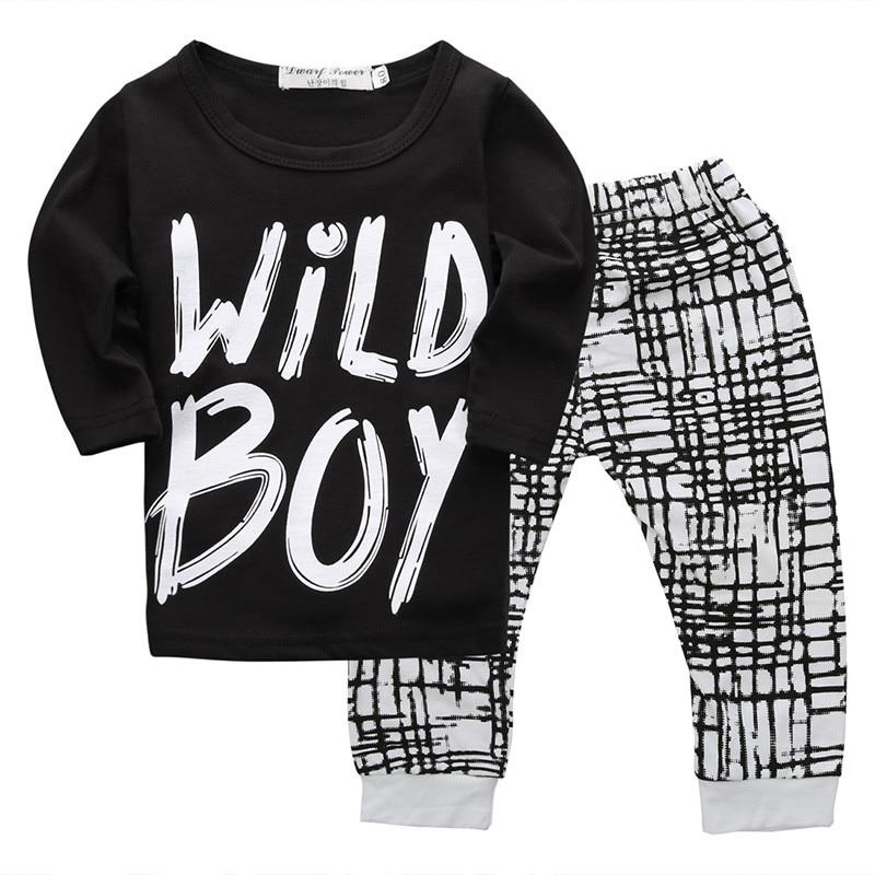 New Toddler Newborn Baby Boys Warm Long Sleeve Wild Boy T-shirt Tops+Plaids Pants Leggings Outfits Autumn 2pcs Set Clothes 0-24M