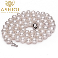ASHIQI Natural Real Pearl Necklace jewelry Freshwater Pearl Necklaces for women wedding