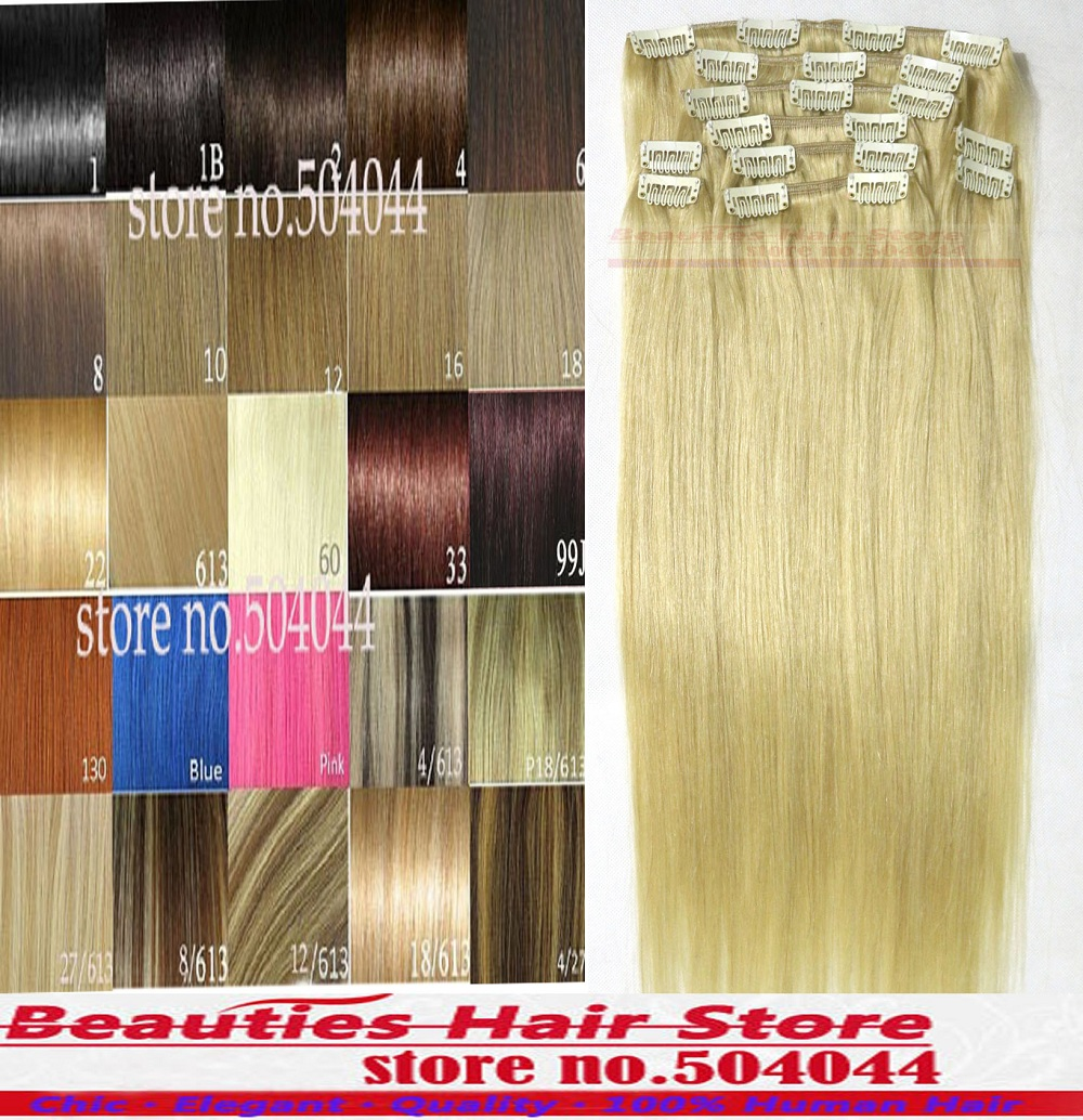 #613 lightest blonde Free Shipping 161820222416283032 thick set soft remy Brazilian Human Hair Clips In/on Extensions