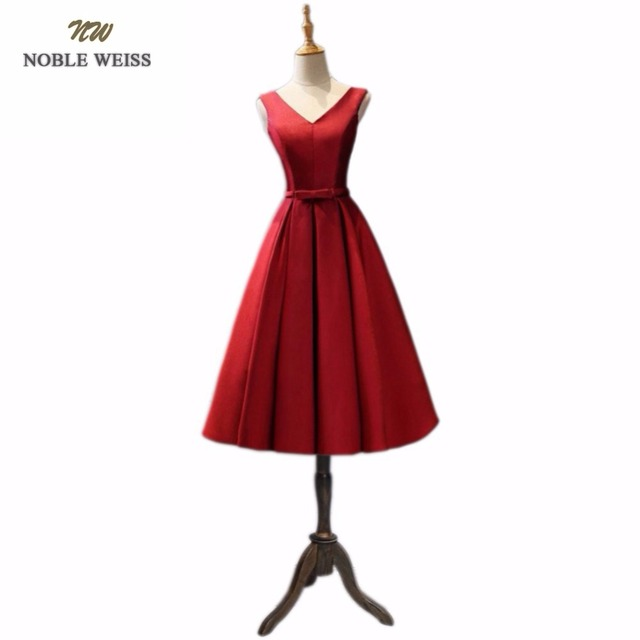 NOBLE WEISS New Style fashion Tea Length quality red party dresses ...