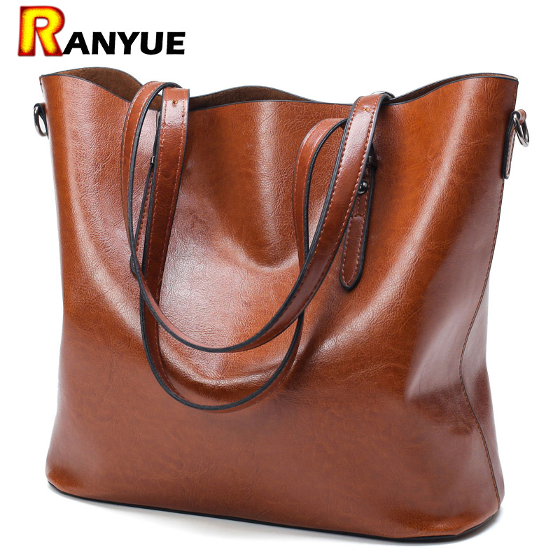 3758f6a4f850 Fashion Women Handbag PU Oil Wax Leather Women Bag Large Capacity Tote Bag  Big Ladies Shoulder