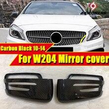 цена на For Mercedes Benz W204 Wing Door Mirror Cover 2Pcs True Carbon Fiber 1:1 Replacement C-Class C180 C200 C250 C63 Style 2010-2014