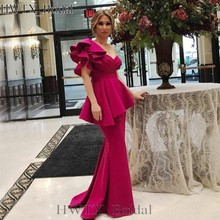 44072e466b3 Fuchsia One Shoulder Mermaid Mother Of The Bride Dresses Plus Size Long  Floor Length Satin 2018