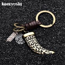 Keychain Pendant Car-Key-Ring-Holder Wolf Tooth Handbags Jewellery Genuine-Leather Men