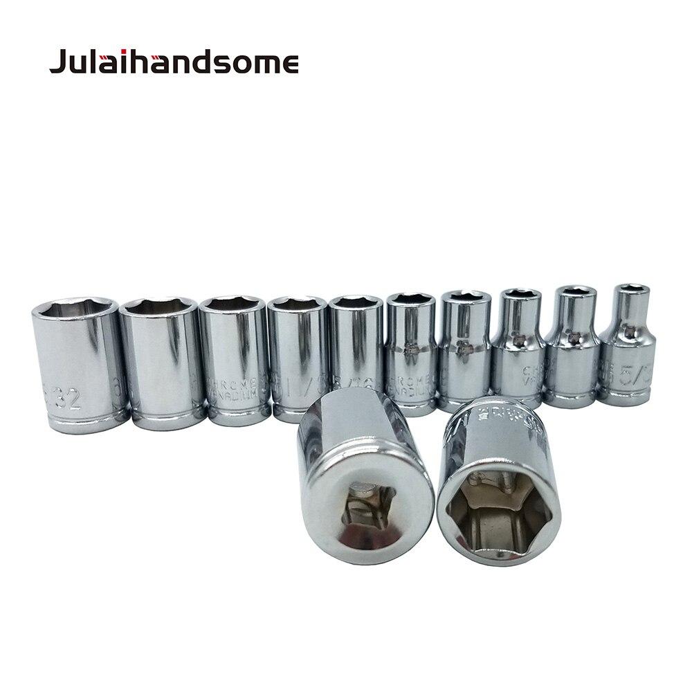 שליכט אקרילי Julaihandsome 12PC 1/4 אינץ SAE Sockets Set 5/32 3/16 7/32 1/4 9/32 5/16 11/32 3/8 7/16 15/32 1/2 9/16 סט כלי CRV 25mm יד (2)