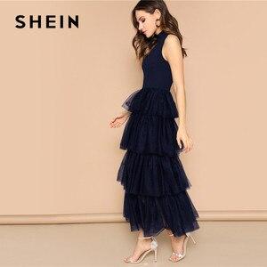 Image 4 - Shein 프릴 넥 라인 계층화 된 메쉬 프릴 밑단 맥시 드레스 민소매 스탠드 칼라 매력적인 파티 드레스 하이 웨스트 여름 드레스